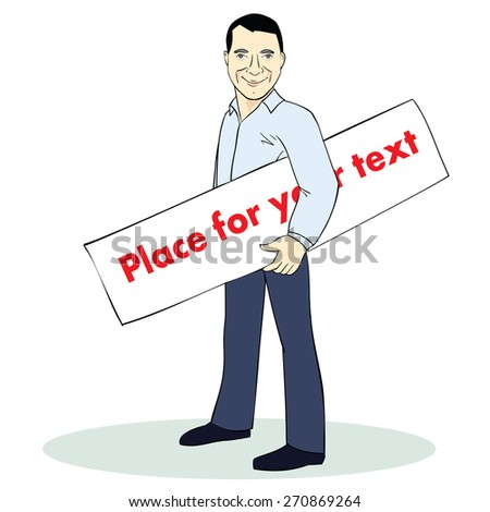 Standing man. Colorful illustration. Template with place for text. Image for advertising. Vector - stock vector