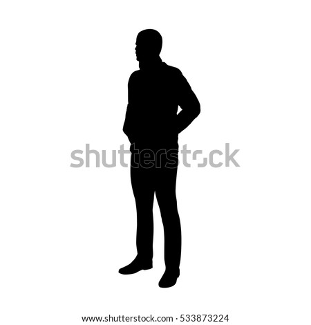 Standing man in jacket, hands in pockets, vector silhouette.