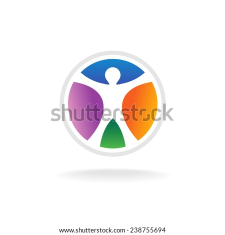Standing man in the color circle logo template - stock vector