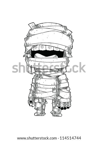 Standing Mummy Halloween Monster Cartoon Vector Illustration - stock vector