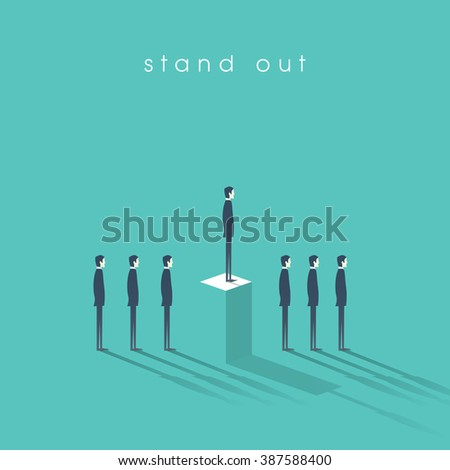 Standing out from the crowd business concept with businessmen in line. Talent or special skills symbol. Eps10 vector illustration. - stock vector