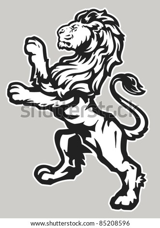 Standing Proud Lion - stock vector