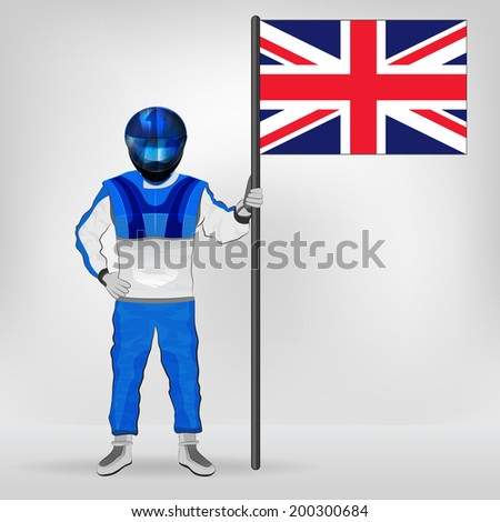standing racer holding British flag vector illustration - stock vector