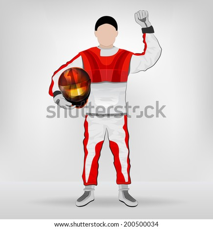 standing racer holding helmet with hand up vector illustration - stock vector