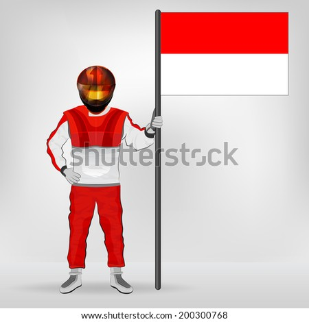 standing racer holding Monaco flag vector illustration - stock vector
