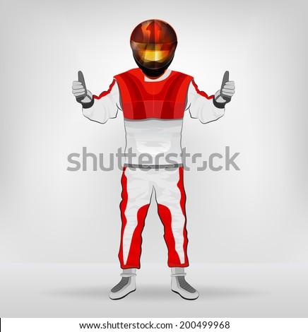 standing racer in helmet with thumbs up vector illustration - stock vector