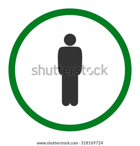 Standing vector icon. This rounded flat symbol is drawn with green and gray colors on a white background.