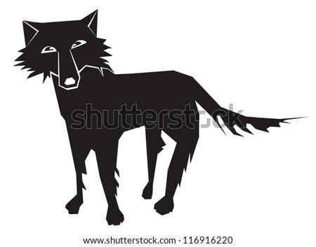 standing wolf, black and white picture, front view - stock vector