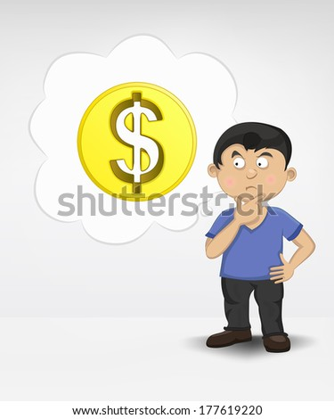standing young boy thinking about Dollar money business vector illustration - stock vector