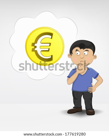 standing young boy thinking about Euro money business vector illustration - stock vector