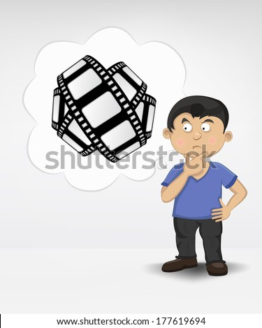 standing young boy thinking about movie vector illustration - stock vector