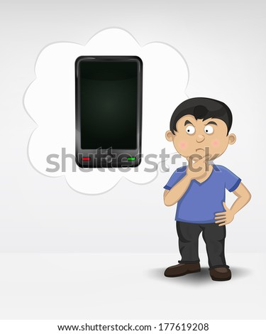 standing young boy thinking about new smart phone vector illustration - stock vector