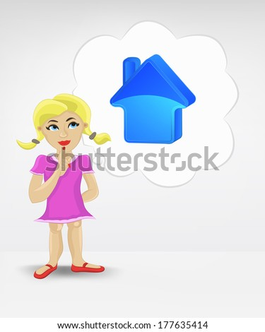 standing young girl thinking about new house vector illustration - stock vector