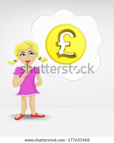 standing young girl thinking about Pound money business vector illustration - stock vector