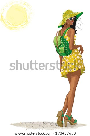 Standing young woman with backpack isolated on white background - stock vector