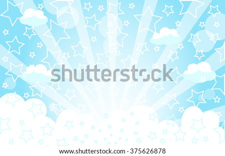 star and blue sky background - stock vector