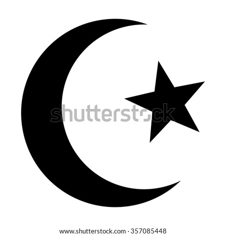 Star and crescent - symbol of Islam flat icon for apps and websites - stock vector