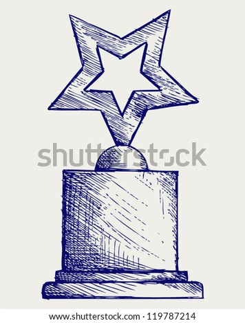 Star award against. Doodle style - stock vector