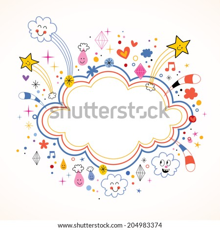 star bursts cartoon cloud shape banner frame - stock vector