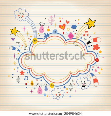 star bursts cartoon cloud shape banner frame lined note paper background - stock vector