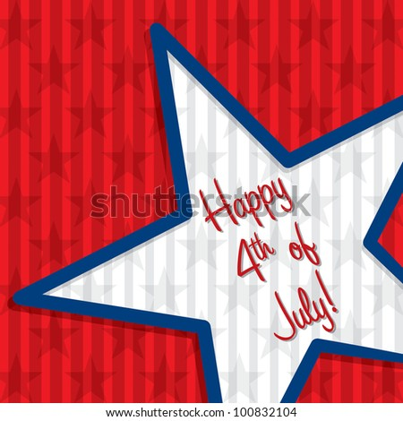 Star cut out Happy 4th of July card in vector format. - stock vector