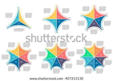 Star diagram, chart, graph with 3, 4, 5, 6, 7, 8  steps, options, parts, processes with outline arrows and number options. - stock vector
