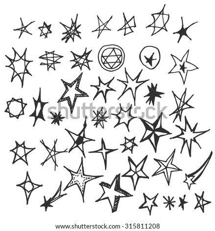 Star Doodles, hand drawn vector illustration. - stock vector