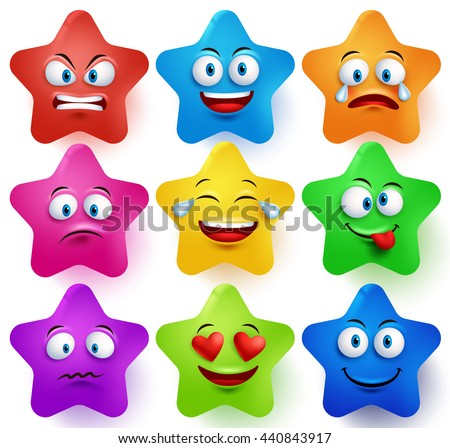 Star faces vector set with colors and facial expressions and different emotions isolated in white background. Vector illustration.