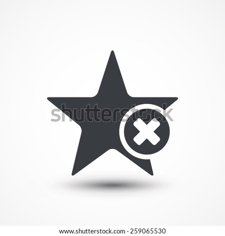 Star favorite sign web icon with delete sign. Vector illustration design element eps10 - stock vector