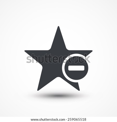 Star favorite sign web icon with minus (delete) sign. Vector illustration design element eps10 - stock vector