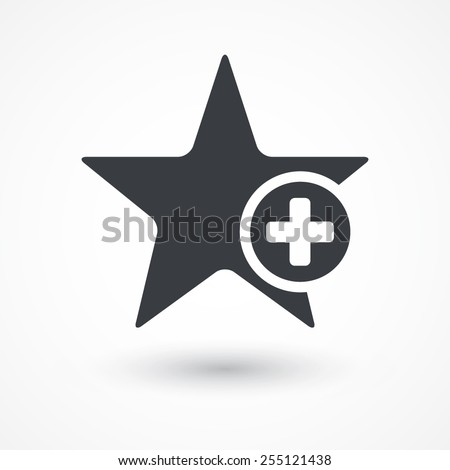 Star favorite sign web icon with plus glyph. Vector illustration design element. Flat style design icon - stock vector