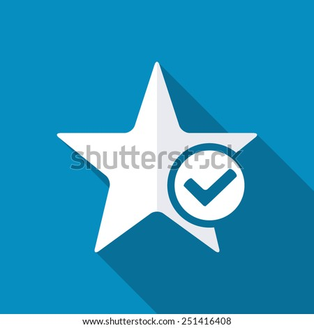 Star favorite sign web icon with tick sign. Vector illustration design element. Modern design flat style icon with long shadow effect - stock vector