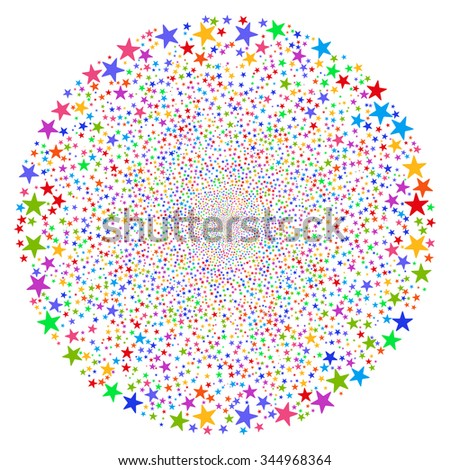 Star Fireworks Sphere vector illustration. Style is bright multicolored flat stars, white background.