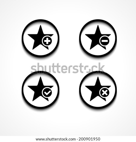 Star flat icon set and check mark, plus, minus, delete sign. Rings with black shadow on white background. Eps10 vector illustration - stock vector