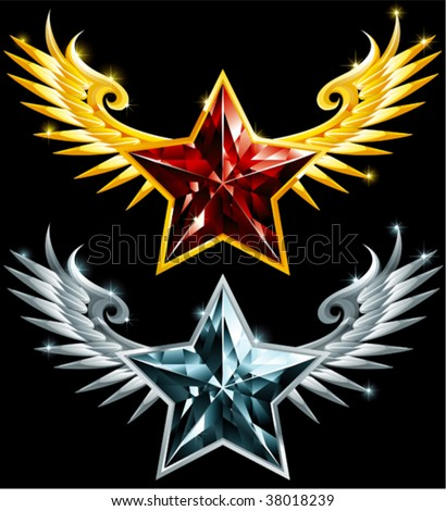 star gems with wings - stock vector