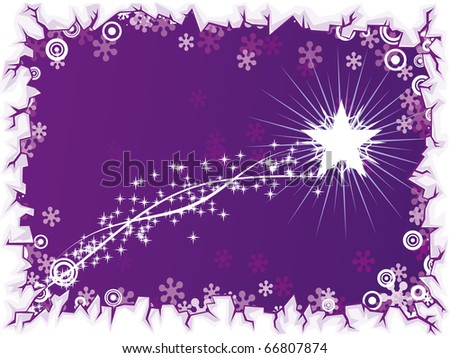 star going across a starry sky - stock vector