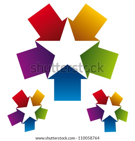Star icon created with five arrows, vector. - stock vector