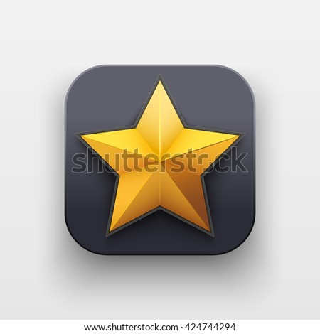 Star icon of Rating and Top Symbol on dark backdrop with shadow. Vector Illustration Isolated on background - stock vector