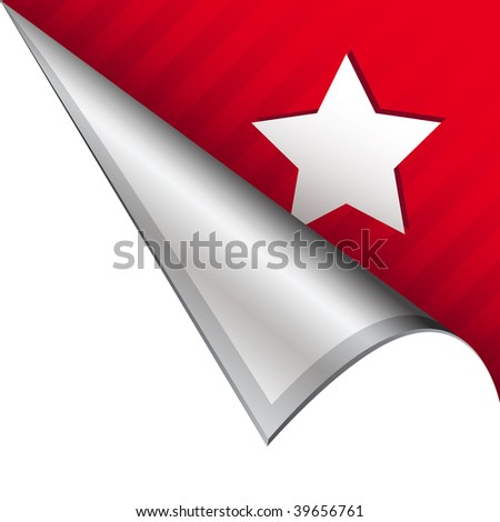 Star icon on vector peeled corner tab suitable for use in print, on websites, or in advertising materials. - stock vector