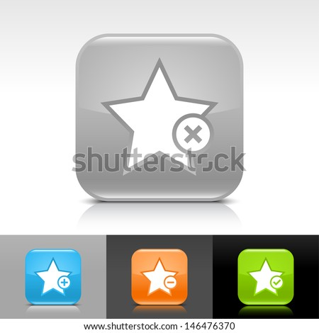 Star icon set. Blue, orange, green, gray color glossy web button with white sign. Rounded square shape with shadow, reflection on white, gray, black background. Vector illustration element 8 eps  - stock vector