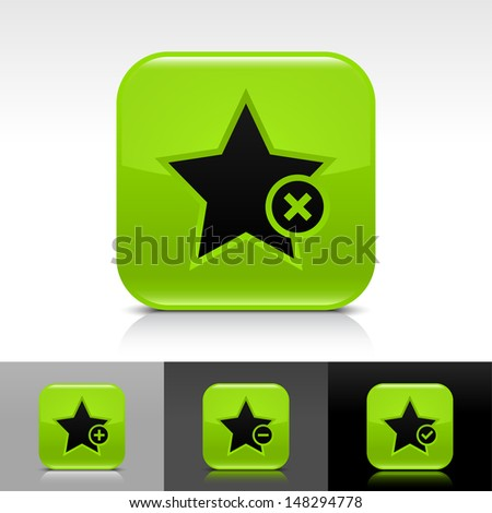 Star icon set. Green color glossy web button with black sign. Rounded square shape with shadow, reflection on white, gray, black background. Vector illustration design element 8 eps  - stock vector