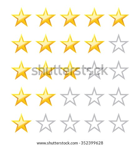 Star icon. Vector illustration. Five stars rating with blank. Design element.