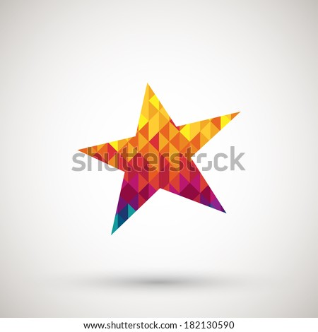 star icon with colorful diamond - stock vector