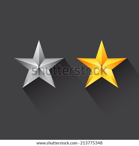 Star icon with silver star and gold star - stock vector
