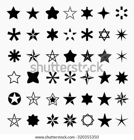Star icons and pictogram. Concept rating, success, awards. Collection black star shapes Isolated on a white background. - stock vector
