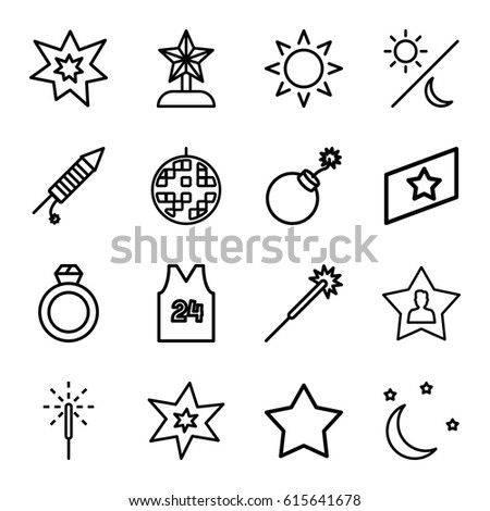 Star icons set set 16 star stock vector 673088959 shutterstock star icons set set of 16 star outline icons such as sun star sciox Gallery