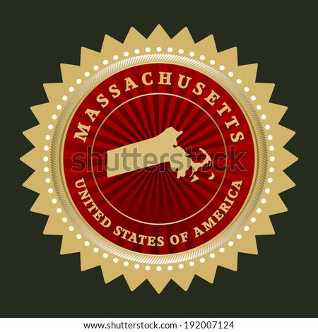 Star label with map of Massachusetts, vector - stock vector