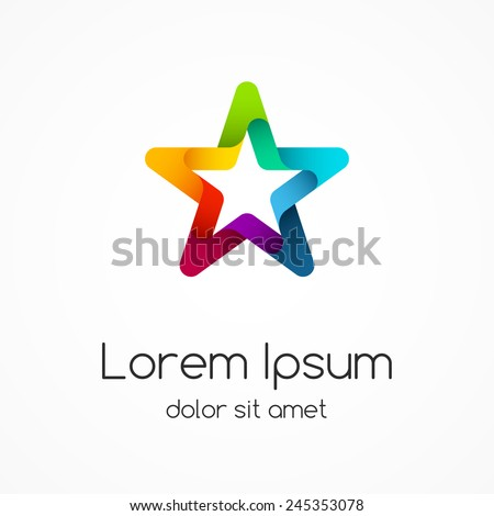 Star logo template. Abstract circle creative sign or symbol. Design element. - stock vector