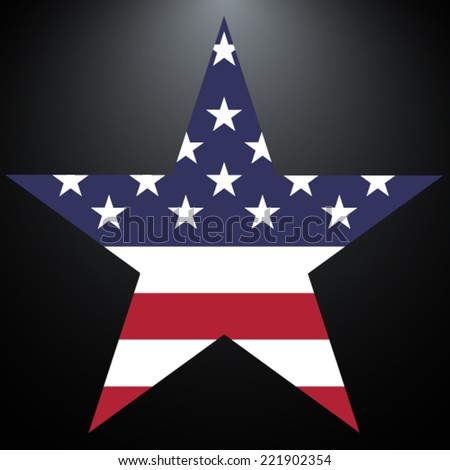 Star made from American flag - stock vector