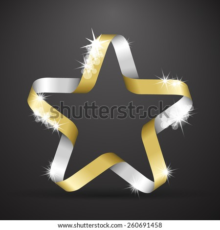 Star made from golden and silver ribbon - stock vector